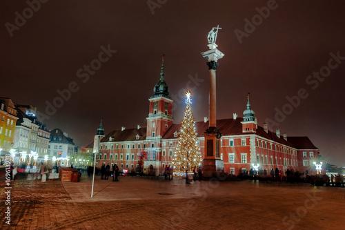 Obraz na dibondzie (fotoboard) Plac Zamkowy nocą