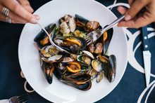 Steamed Mussles In White Bowl ...