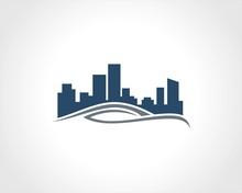 Building Cityscape Wave Vector Logo