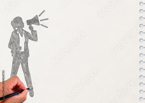 Fotografie, Obraz  ノートに描いた拡声器で叫ぶ女性のシルエット