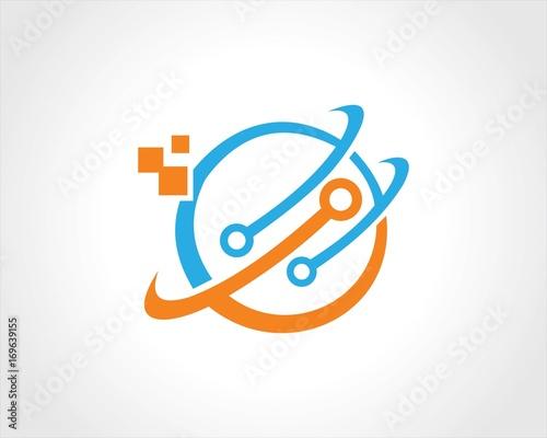 Obraz  circle orbit dot tehcnology logo - fototapety do salonu