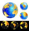 World earth globe set icon