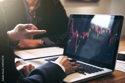 Fotografie, Obraz  Business team investment working with computer and analysis graph stock market t