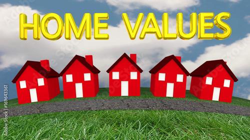 Home Values Houses For Sale Real Estate Estimates 3d Illustration Wallpaper Mural