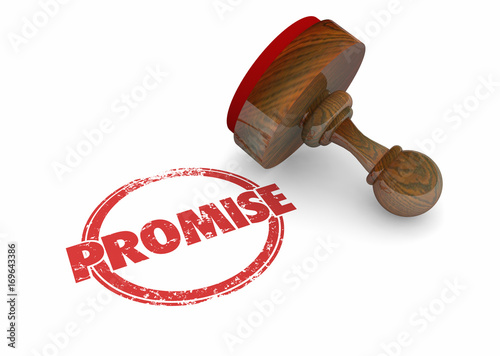 Fototapeta Promise Stamp Guarantee Vow Word 3d Illustration