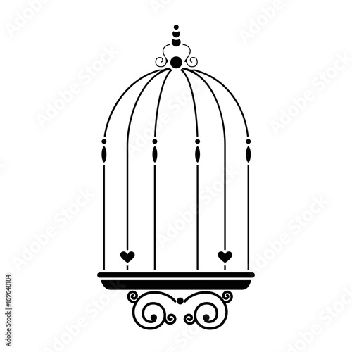 Fotografia  vintage birdcage icon over white background vector illustration