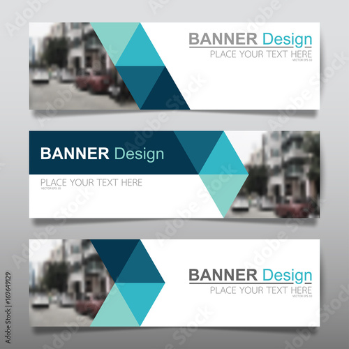 Fototapeta Collection horizontal business banner set vector templates. Clean modern geometric abstract background layout for website design. Simple creative cover header. In rectangle size. obraz