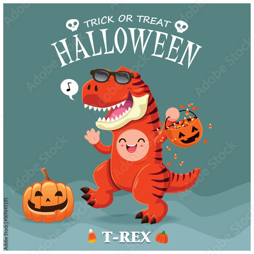 Photo  Vintage Halloween poster design with vector T-Rex dinosaur character