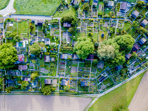 Aerial view of allotment in Switzerland Canvas Print