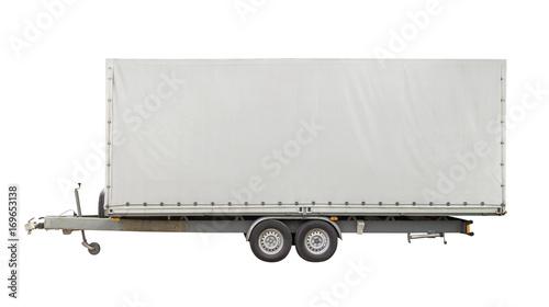 Photo isolated white trailer