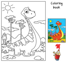 Funny Red Dinosaur. Coloring B...