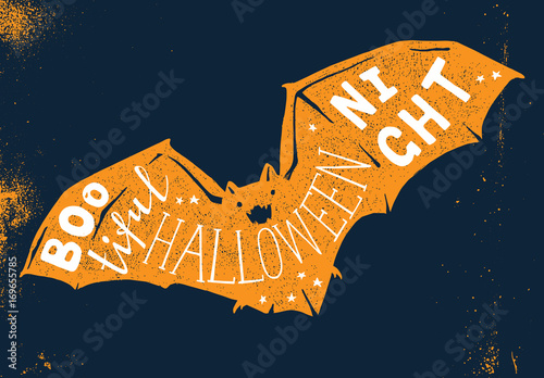 Hand drawn Halloween card with lettering