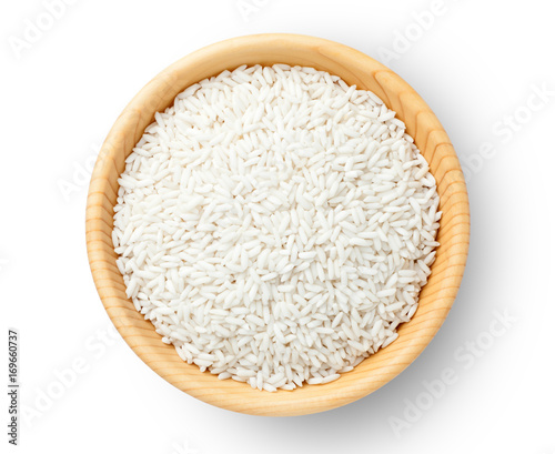 Top view of glutinous rice in a wooden bowl. Fototapeta