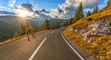 Beautiful Autumn Alpine Highway In Nockalmstrasse Area, Austria.