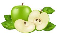 Fresh Green Apple With Dew Dro...