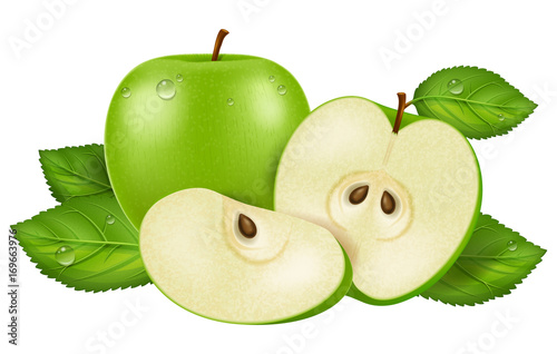 Fototapeta Jabłko  fresh-green-apple-with-dew-drops-sliced-and-whole-vector-illustration