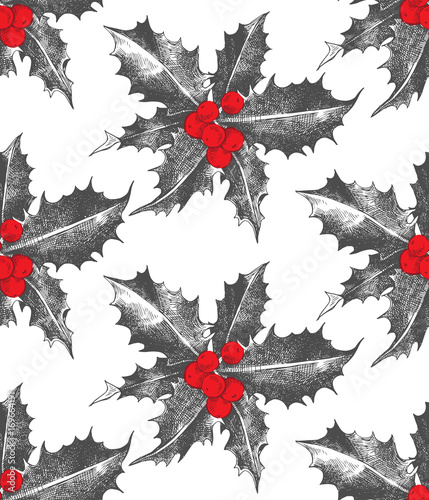 Cotton fabric Holly berry Christmas seamless pattern