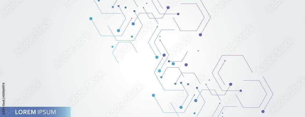 Fototapety, obrazy: Vector banner design, white background with hexagon pattern