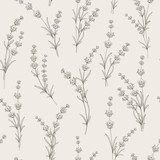 Bezszwowy wzór lawendowi kwiaty na białym tle. Wzór z lawendą na próbkę tkaniny. Ilustracji wektorowych. - 169665182