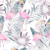 Fototapeta Młodzieżowe - Abstract tropical pattern with flamingo, protea, leaves. Watercolor seamless print. Minimalism illustration