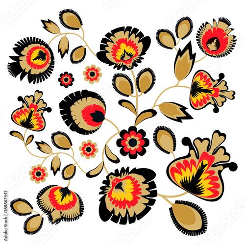 ludowy-ornament-z-kwiatami-tradycyjna-polska-dekoracja-wzory-lowickie