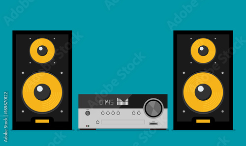 Home stereo flat vector music systems Canvas Print