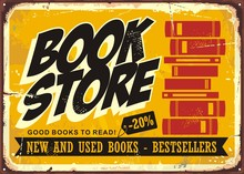 Book Store Vintage Sign. Books Retro Poster Template.