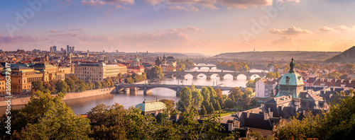 Canvas Print Prague sunset from Letna