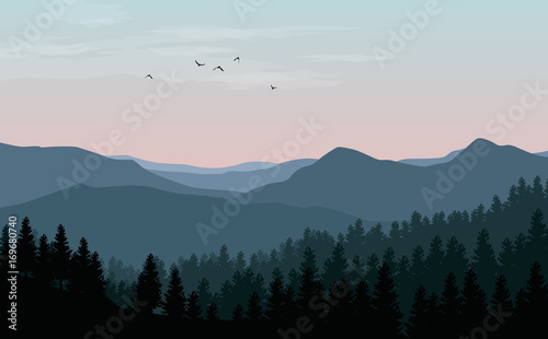 Vector landscape with blue silhouettes of mountains, hills and forest with sunset or dawn pink sky
