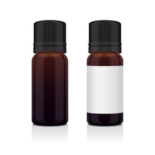 Set Of Realistic Essential Oil Brown Bottle. Mock Up Bottle Cosmetic Or Medical Vial, Flask, Flacon 3d Illustration