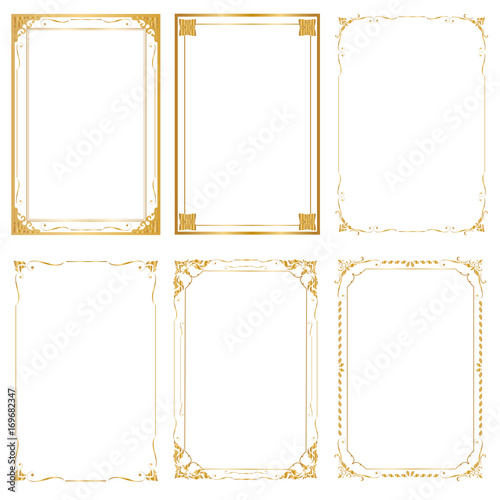 Set Decorative frame and borders, Golden frame on white background Canvas Print