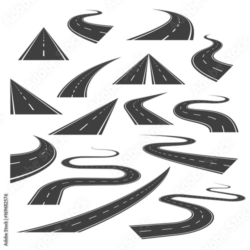 Big set of asphalt road curves, turns, bankings, and perspectives. Bending road, highway or roadway vector illustration. Collection of winding road design elements with white markings. Fototapete
