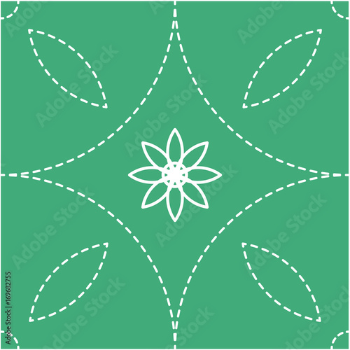 Round Graphic On Green White Dashed Line Simple Graphic Is On Green Background This Pattern Can Be Used For Textile Carpet Wallpaper Curtain Monitor Wallpaper Banner And Etc Buy This Stock