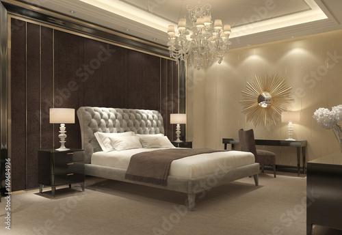 Papiers peints Retro Chic classic luxury bedroom interior perspective view