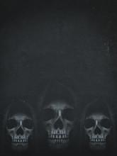 Human Skull In Hood On Dark Ba...