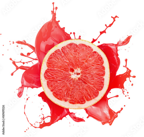 grapefruit with juice splash isolated on a white background