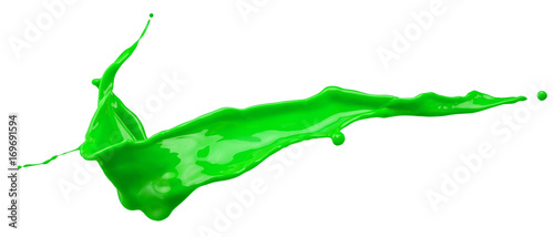 green paint splash isolated on a white background
