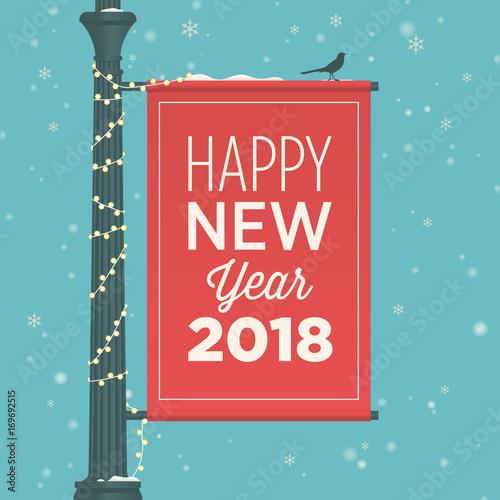 happy new year 2018 card street sign banner editable vector design