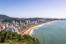 Aerial View Of Itajai City And Praia Brava Beach - Balneario Camboriu, Santa Catarina, Brazil