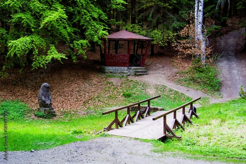 Fototapeta  Mineral water spring (Bear Spring - Medvedi pramen) in the spa forest near the s