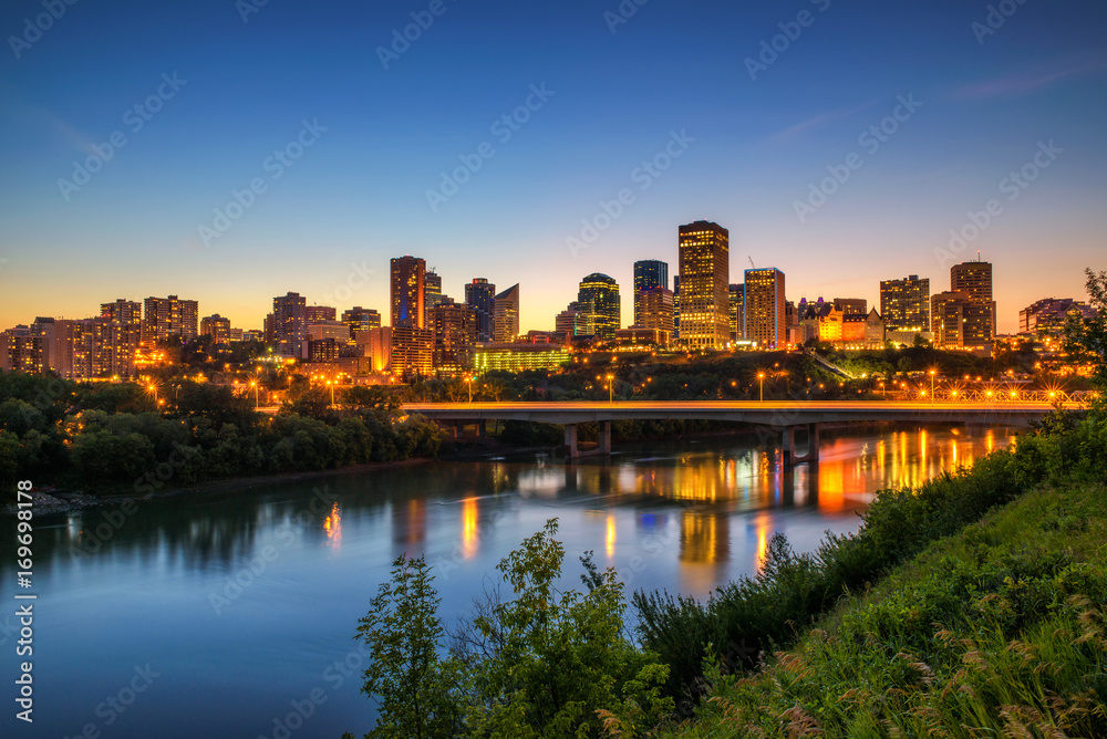 Edmonton downtown and the Saskatchewan River at night