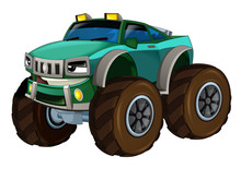Cartoon Fast Off Road Car Looking Like Monster Truck - Isolated - Illustration For Children