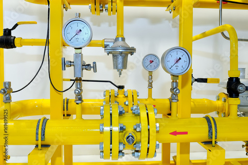 Photo  Pressure meters on natural gas pipeline