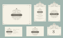 Vintage Ornament Set, Certificate Frame, Business Card, Wedding Invitation, Save The Date, Table Number, Greeting Card, And Luxury Logo With Isolate On Retro Background. Vector Illustration