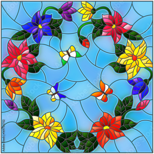 ilustracja-w-stylu-witrazu-z-jasne-kolorowe-kwiaty-w-kolko-i-motyle-na-niebie