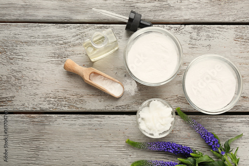 Composition with ingredients for deodorant on wooden table Wallpaper Mural