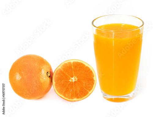 Foto op Canvas Sap Orange juice on white background