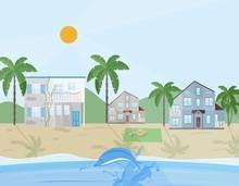 Sea Shore Village Vector Illus...