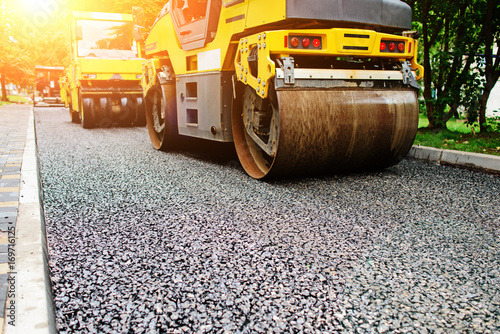 Fényképezés Background of asphalt roller that stack and press hot asphalt