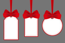 Set Labels With Red Bows. Vector